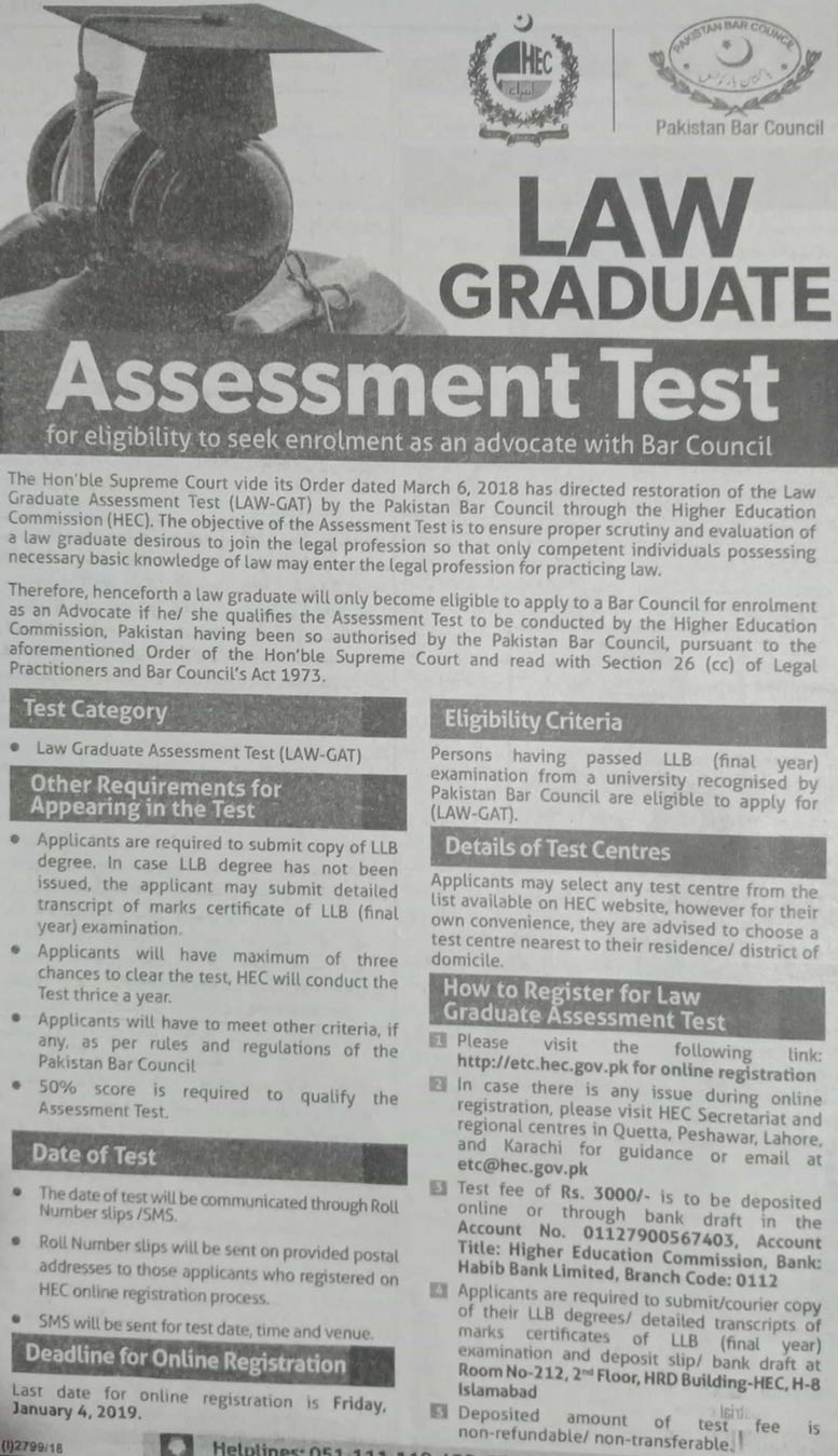 Law Graduate Assessment Test for Enrollment as an Advocate with Bar Council