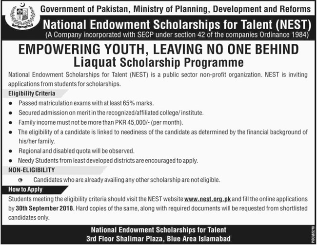 NEST Scholarship Programme for Needy Students after Matriculation Education