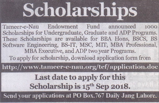 Tameer-e-Nau Endowment Fund - 1000 Scholarships for Undergraduate, Graduate and ADP Programs