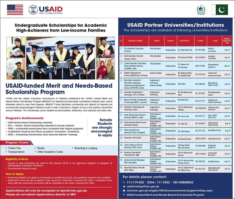 USAID-Funded Merit and Needs-Based Scholarship Program for Undergraduate Students