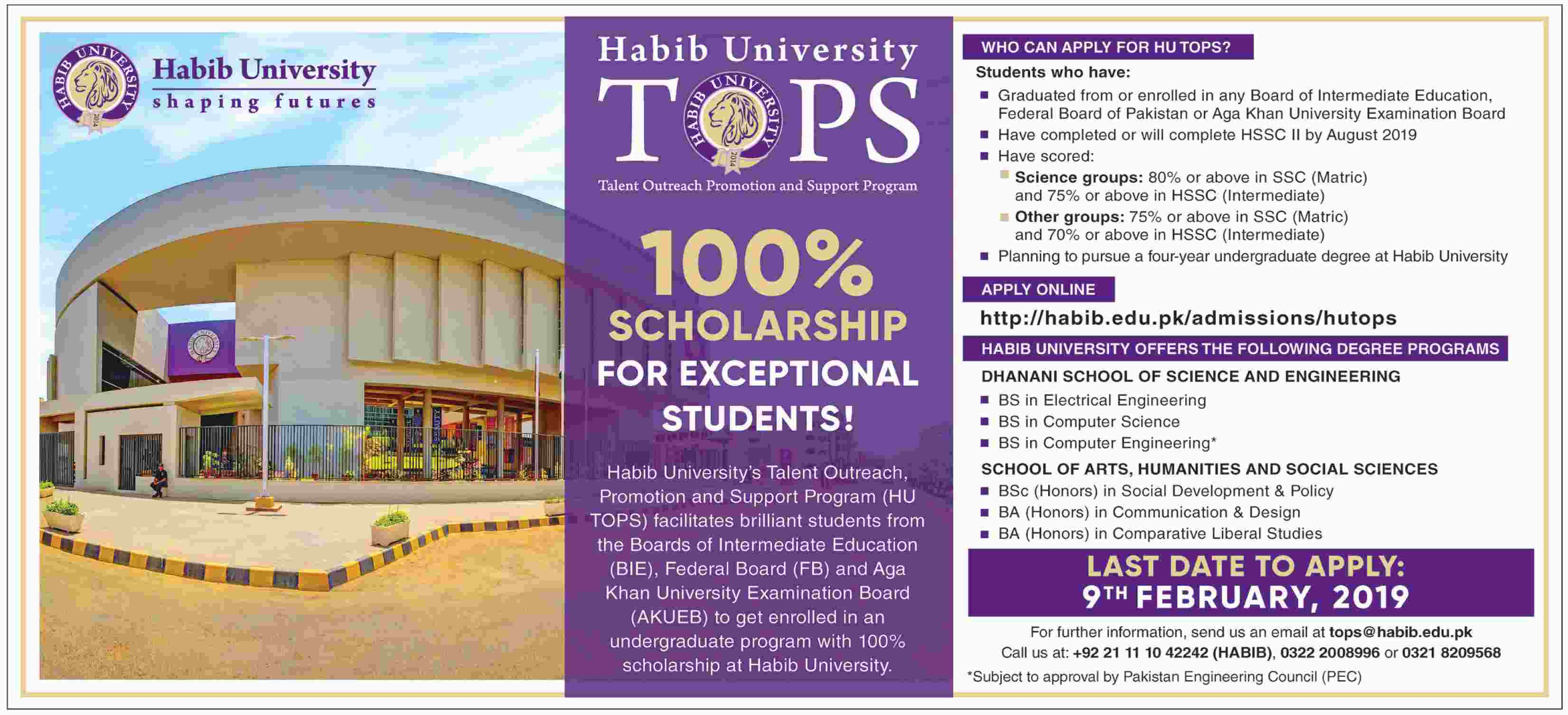100% Scholarship for Exceptional Students - Habib University's Talent Outreach, Promotion and Support Program