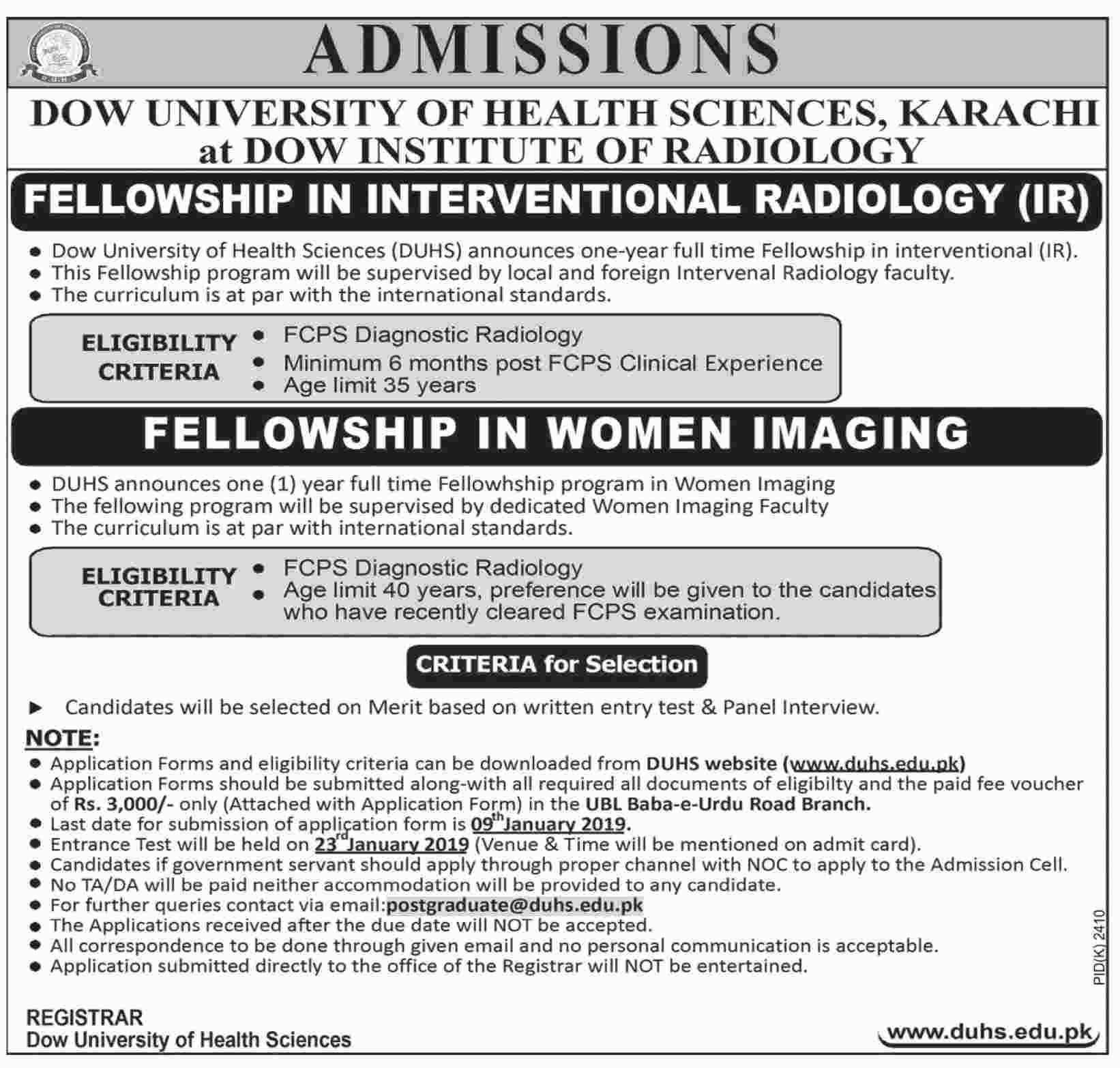 Fellowship in International Radiology (IR) - Dow University of Health Sciences