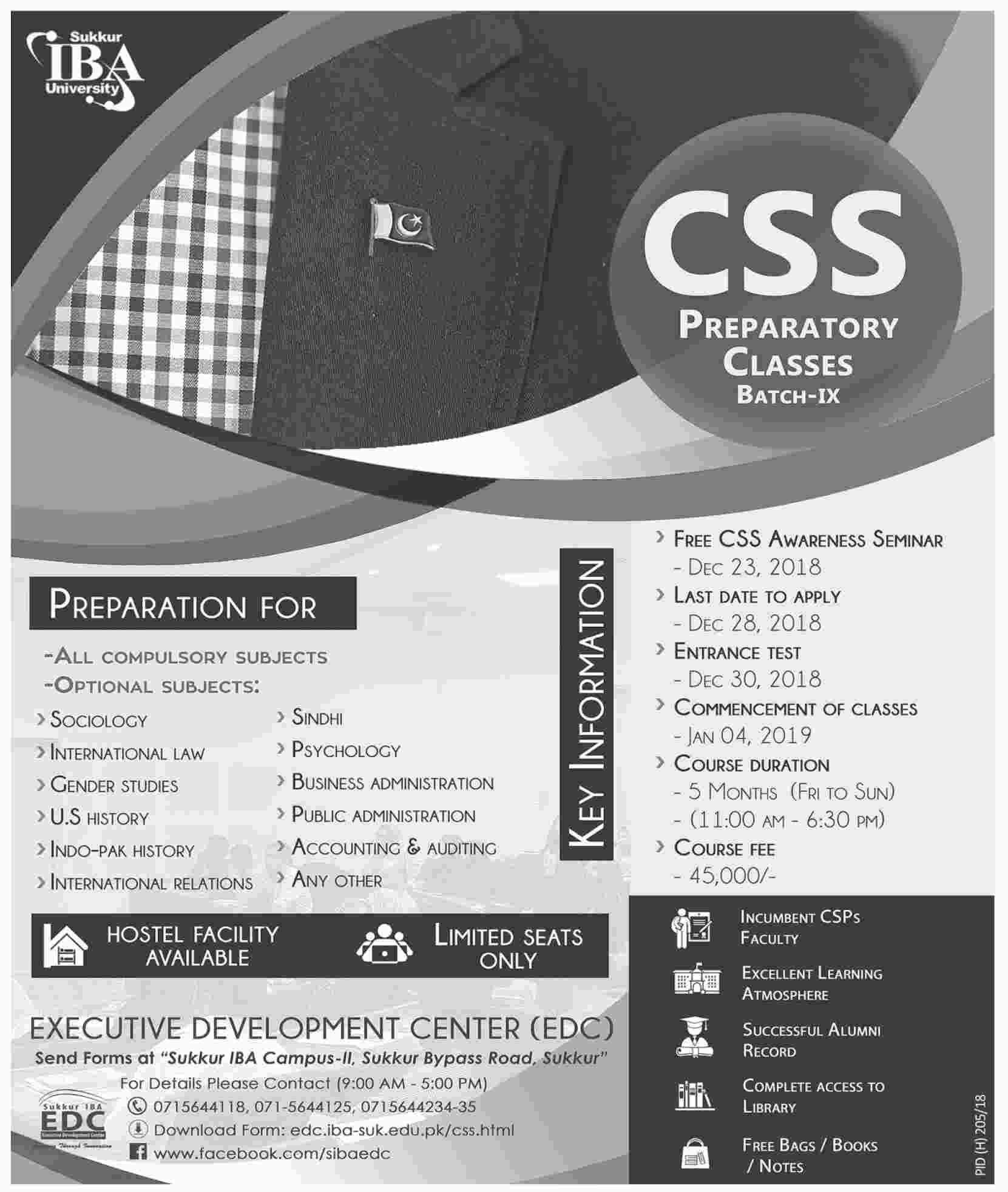 Free CSS Awareness Seminar and Preparatory Classes Batch (IX) - Sukkur IBA University