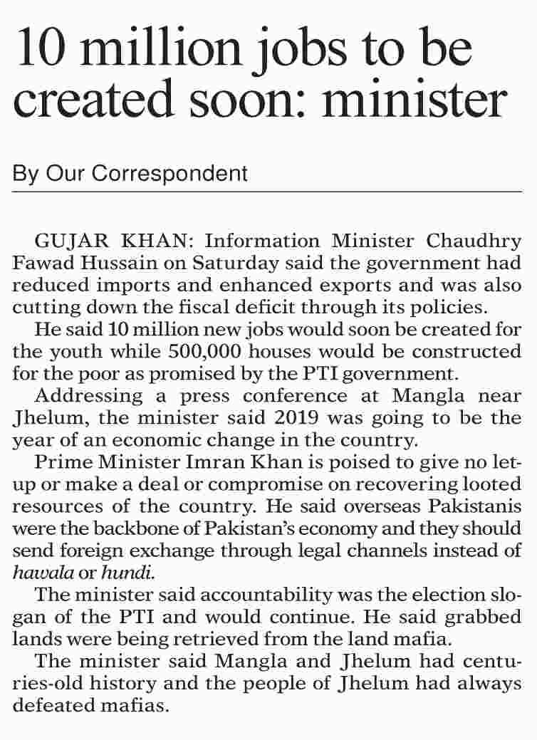 10 Million New Jobs to be Created Soon in Pakistan