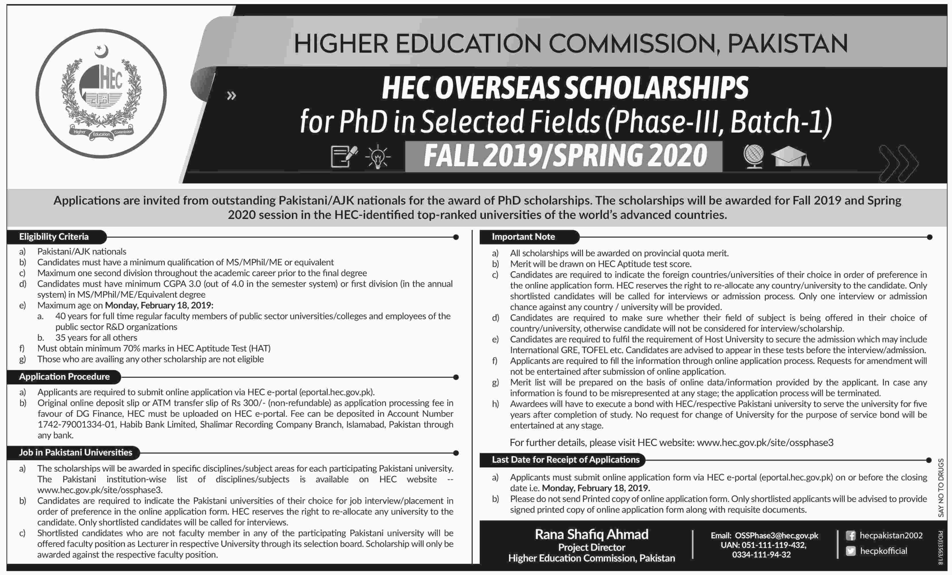 HEC Overseas Scholarships for PhD in Selected Fields (Phase-III, Batch-I)