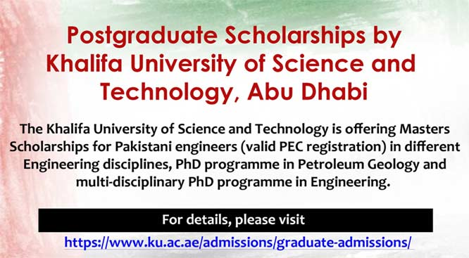 Masters Scholarships for Pakistani Engineers | The Khalifa University of Science and Technology