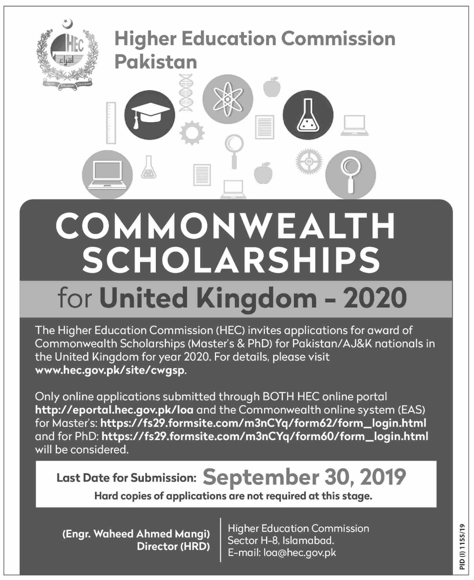 Commonwealth Scholarships  for United Kingdom  2020