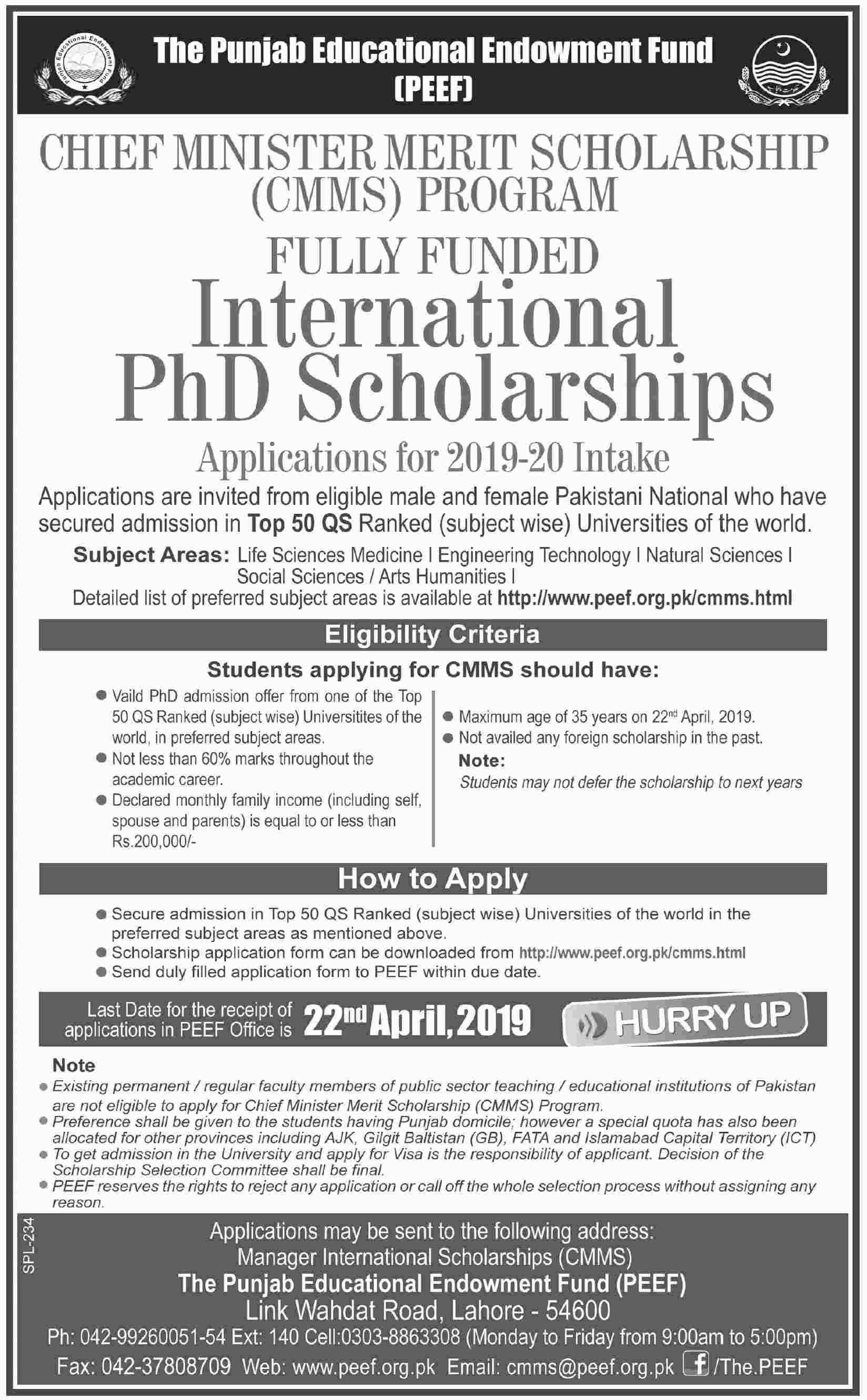 Chief Minister Merit Scholarship (CMMS) - Fully Funded International PhD Scholarships
