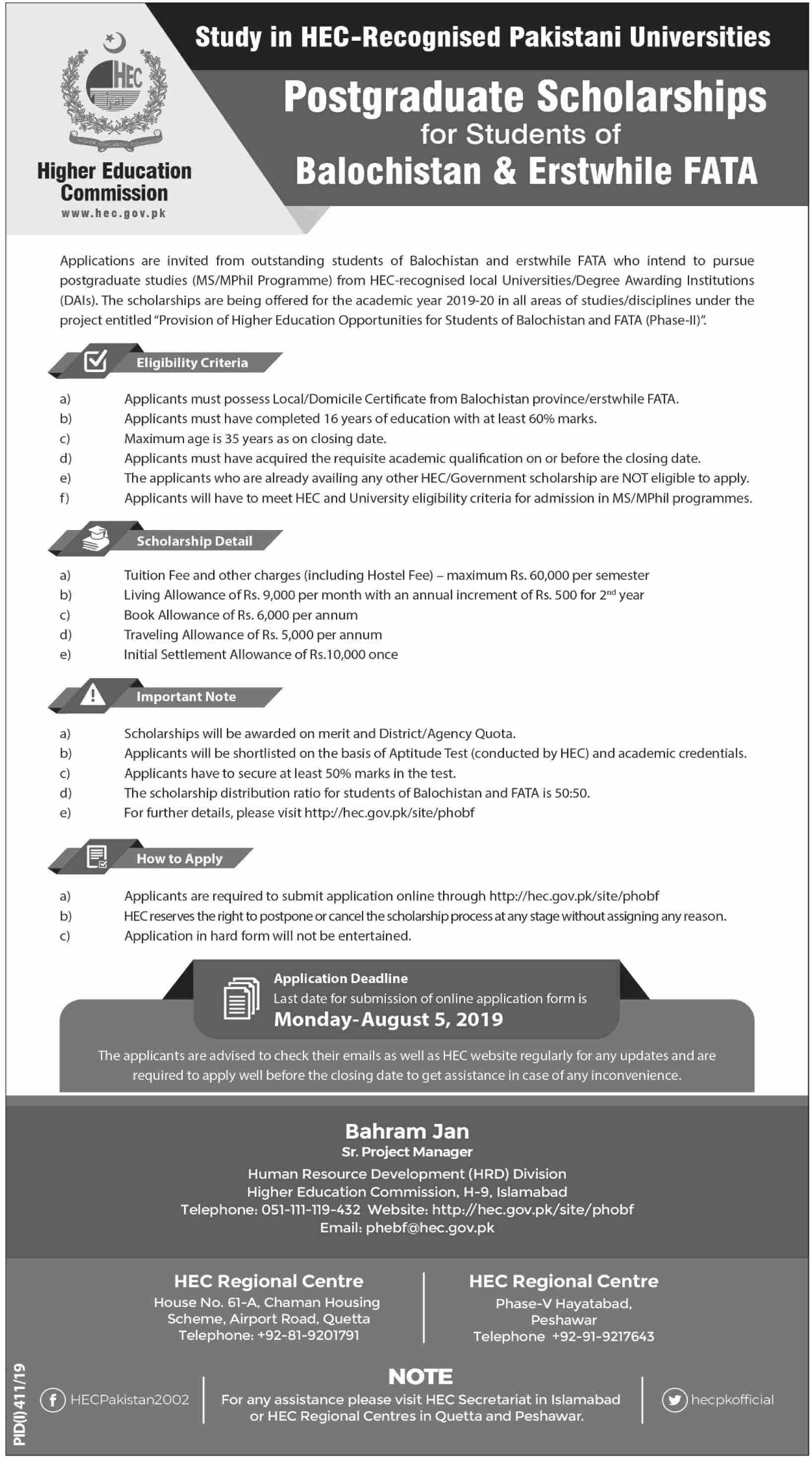 HEC Postgraduate Scholarships for Students of Balochistan & Erstwhile FATA