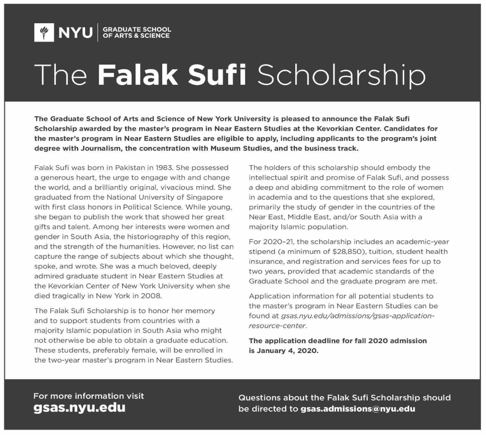 The Falak Sufi Scholarship at NYU Graduate School Of Arts & Science (Master's Program)