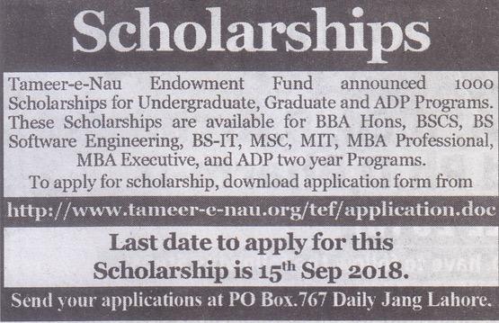Tameer-e-Nau Endowment Fund - 1000 Scholarships for Undergraduate, Graduate and ADP Programs