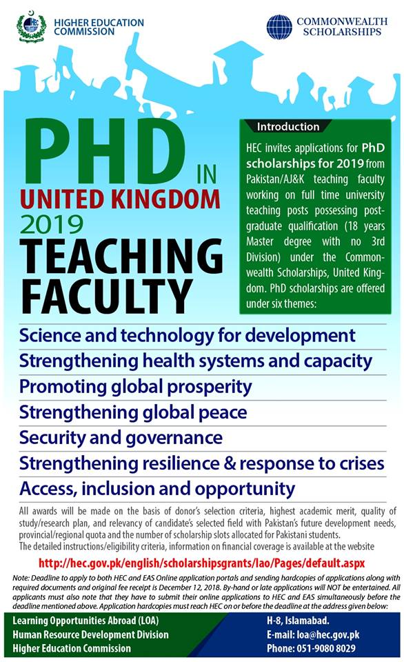 Commonwealth Scholarships  for PhD in United Kingdom 2019