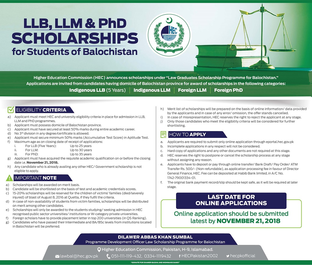 HEC Announces Scholarships under Law Graduates Scholarships Programme for Study Abroad - 2018