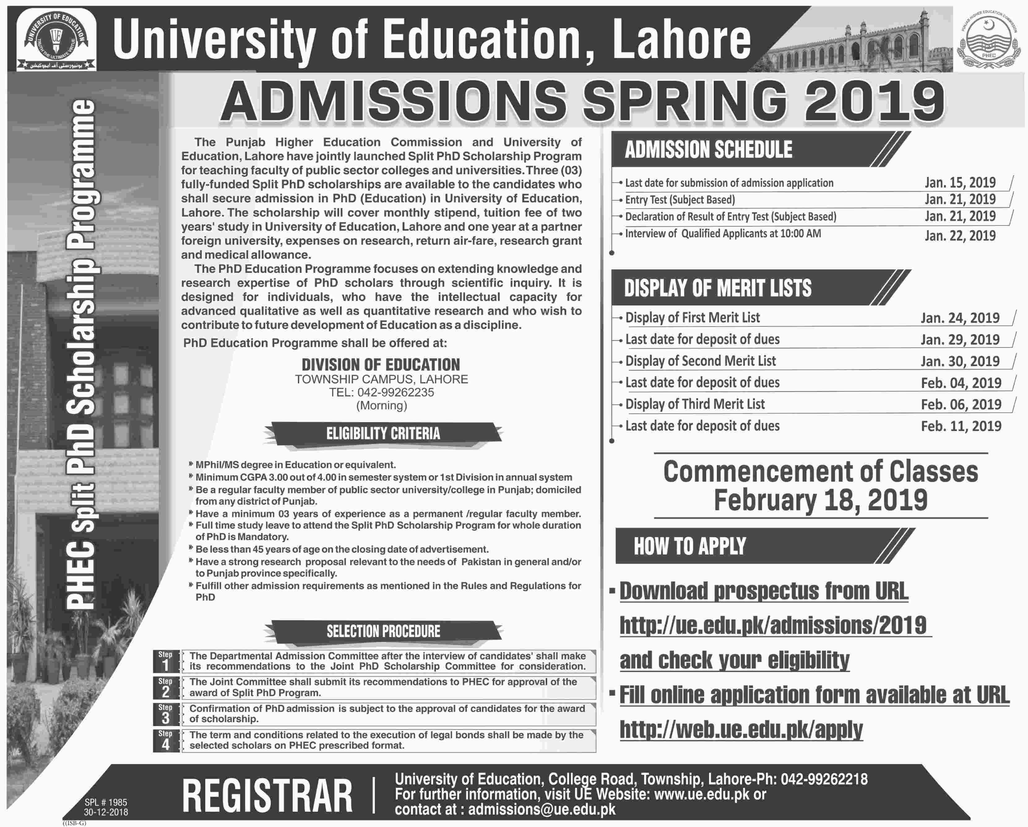PHEC Split PhD Scholarship Pogramme - University of Education, Lahore