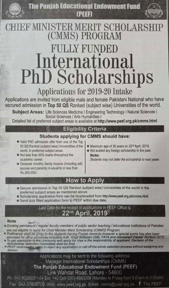 International PhD Scholarships Fully Funded - Chief Minister Merit Scholarship (CMMS) Program (2019-20)